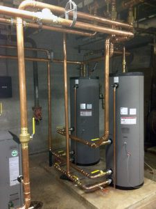 Indirect water heaters and piping installed at St. Joe's in Sylvania Ohio